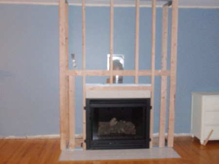 Living Room Remodel, Adding a Fireplace and Built in Bookshelves (7)