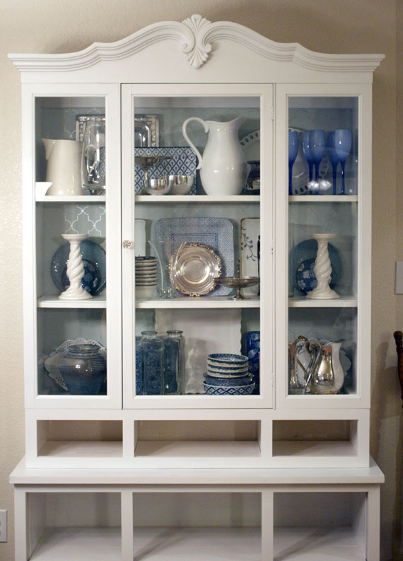 How To Style Dishes In A Hutch, By @Remodelaholic