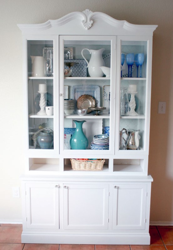 DIY Remodel Of Kitchen Hutch Used For Displaying Dishes, By @Remodelaholic