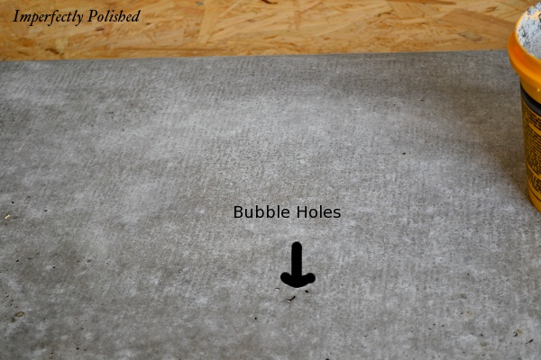 How To Fill Bubble Holes, DIY Concrete Countertops, By Imperfectly Polished Featured On @Remodelaholic
