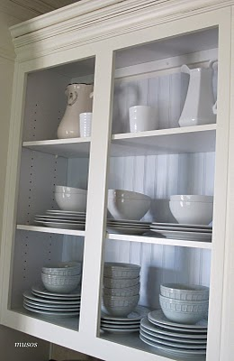 19 Open front cabinets, oak to creamy white, by My Uncommon Slice of Suburbia featured on @Remodelaholic