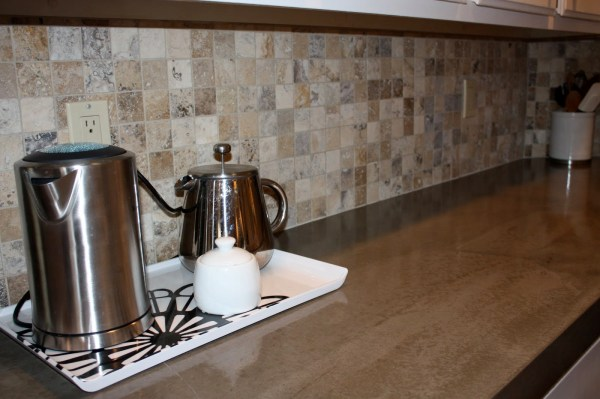 35 DIY Concrete Countertop And New Backsplash, By Design Stocker Featured On @Remodelaholic