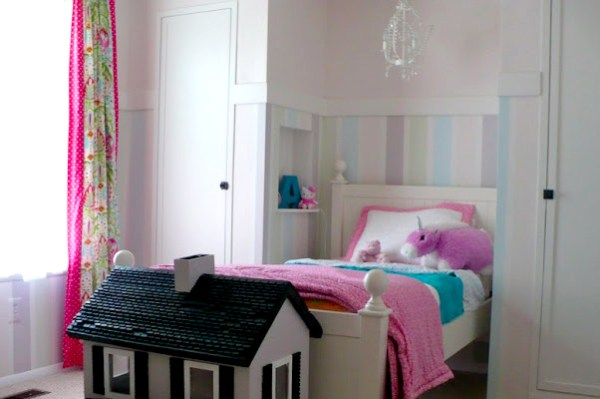 little girls striped wall bedroom