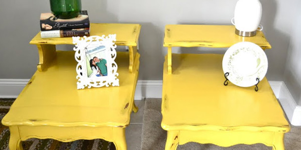 matching yellow painted end tables