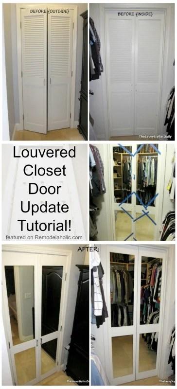Remodelaholic Diy Mirrored Closet Door Makeover