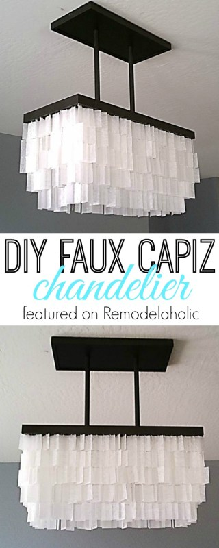 DIY Faux Capiz Chandelier Tutorial via Remodelaholic.com #knockoff #lighting