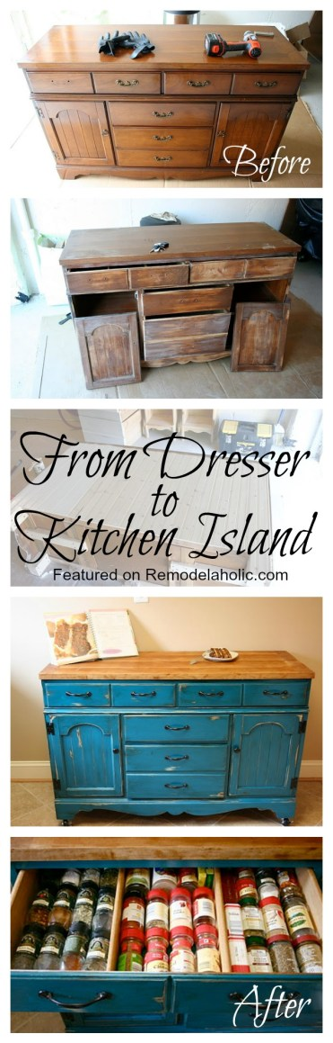 From Dresser to Kitchen Island Tutorial #kitchen_island #Blue #dresser #upcycle