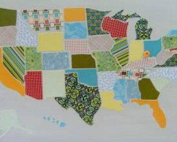 DIY USA Map Out of Scrapbook Paper