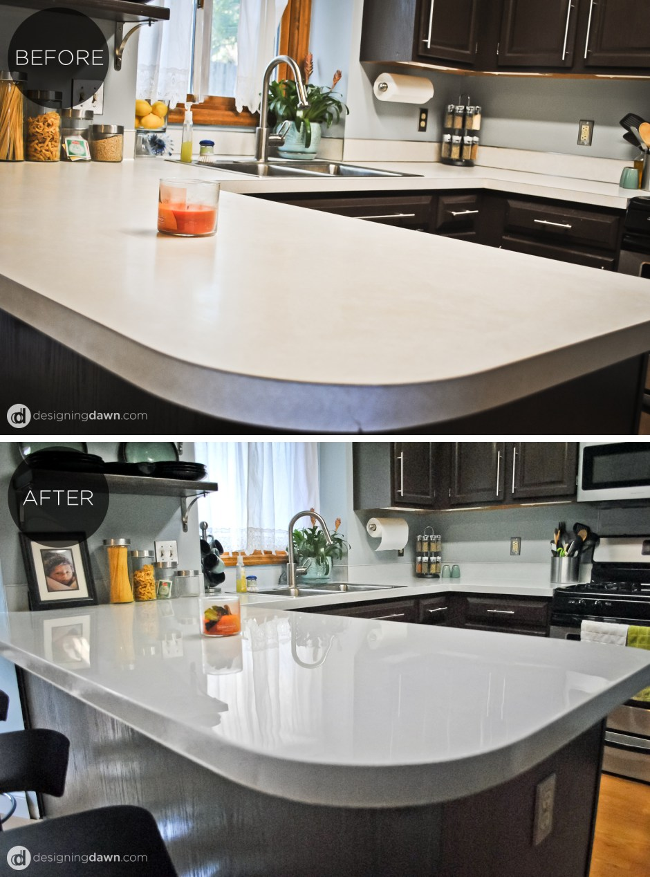 Beau 1 Glossy Painted Kitchen Countertop Tutorial, By AD Aesthetic Featured On  Remodelaholic