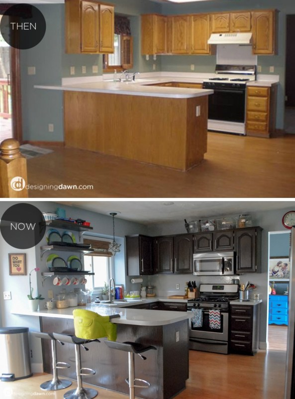 14 Kitchen Makeover With Painted Kitchen Countertops DIY Tutorial, By AD Aesthetic Featured On Remodelaholic