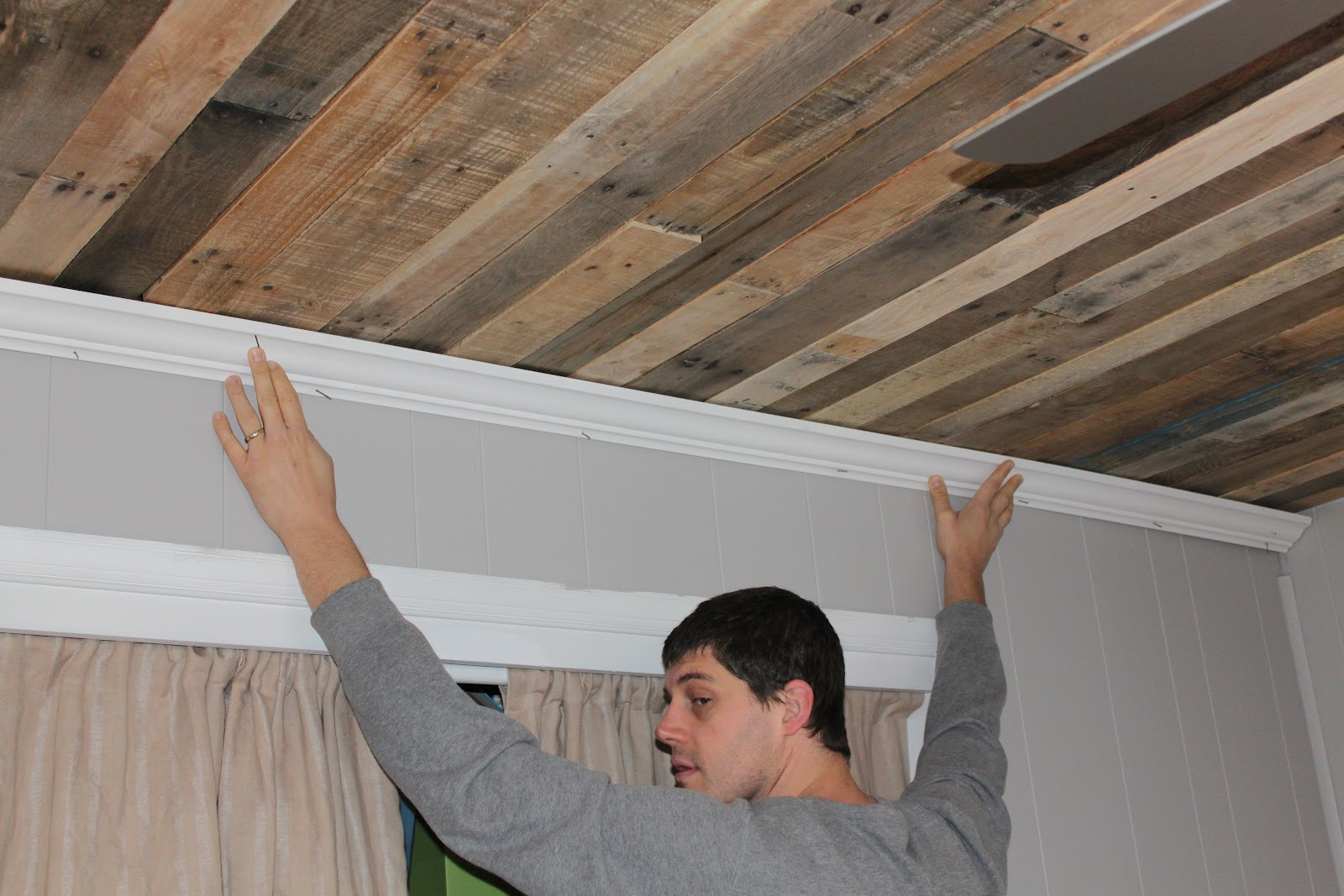 Rustic Wood Ceiling DIY By Maple Leaves And Sycamore Trees Featured On Remodelaholic