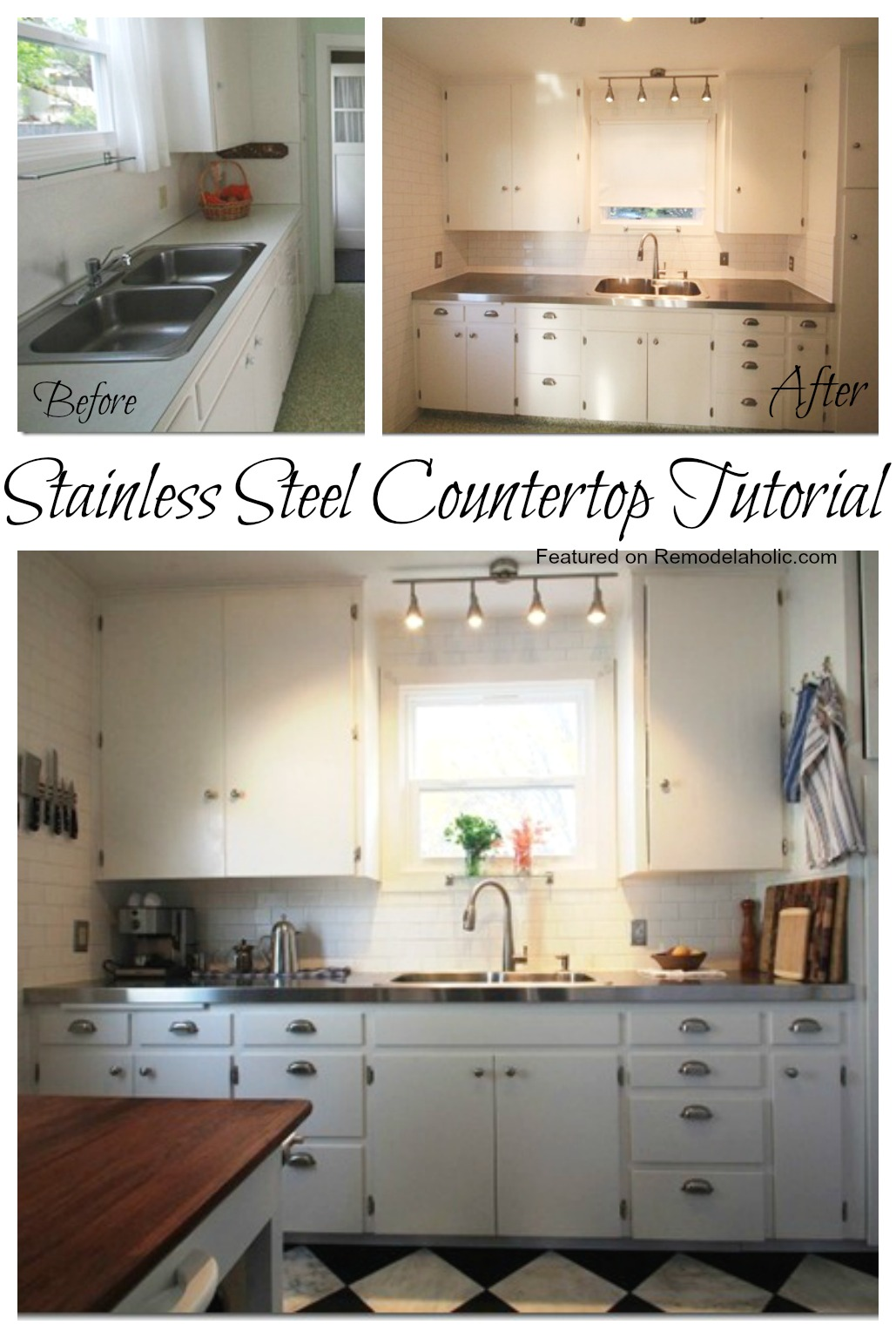 Affordable Stainless Steel Countertops; DIY & Remodelaholic | Affordable Stainless Steel Countertops; DIY