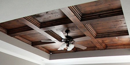 DIY stained wood coffered ceiling 1