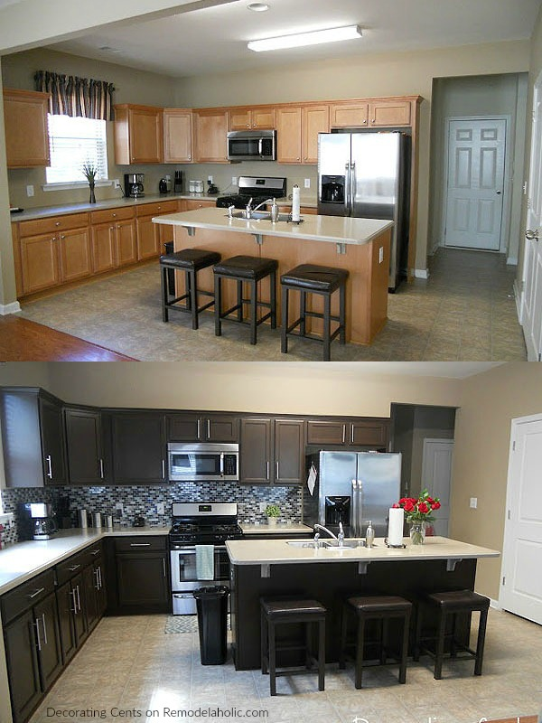 Before After Chocolate Brown Cabinets Using Rustoleum Transformations Painting Kit @Remodelaholic