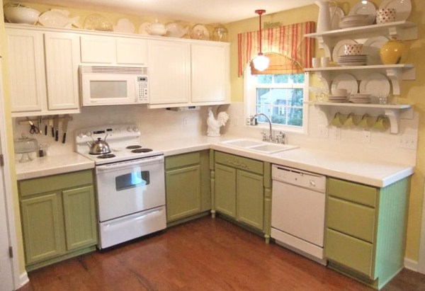 3 Green painted cabinets to gray, Natural Choice by Sherwin Williams, Mom and Her Drill featured on @Remodelaholic