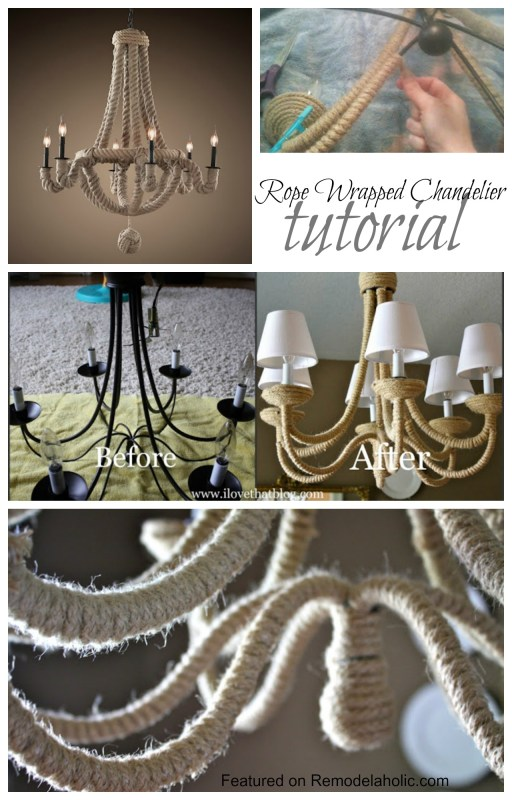 Rope Wrapped Chandelier Tutorial
