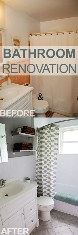 Updating an old bathroom with graoutable peel and stick tiles (13)