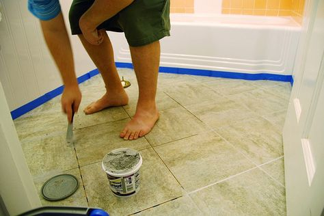 Updating an old bathroom with graoutable peel and stick tiles (4)