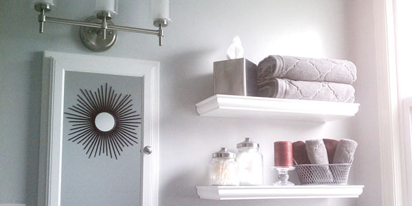 Remodelaholic Bathroom Update Gray Walls And Red Accent
