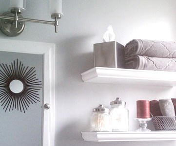 Bathroom Update: Gray Walls and Red Accent Colors
