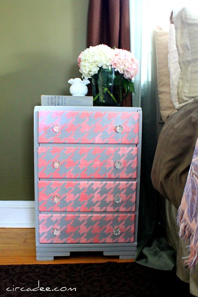 Houndstooth-Pattern-Painted-Dresser-pink-fullshot