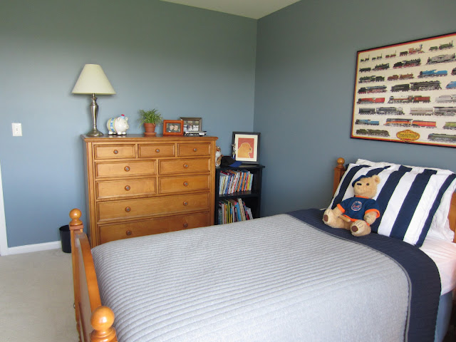 Remodelaholic | Blue Boys Bedroom Makeover With Chevron Curtains