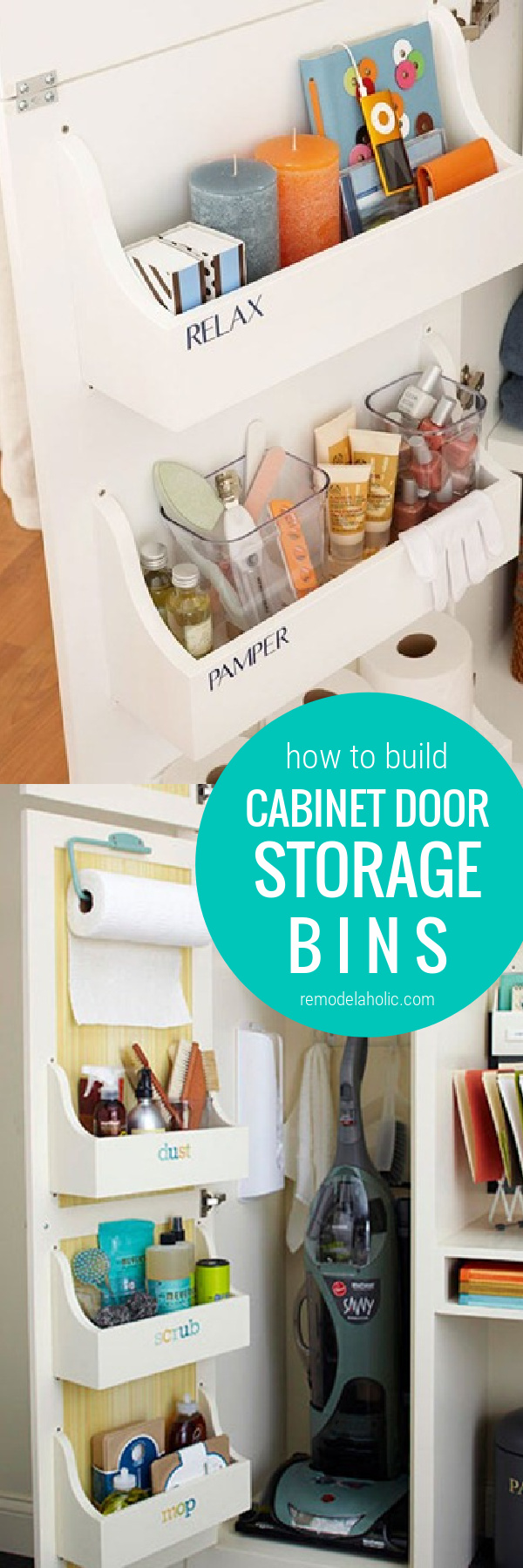 How To Build Cabinet Door Storage Bins For Under Sink Storage In Bathroom And Kitchen Cabinets #remodelaholic