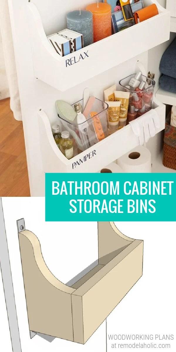 Under Sink Bathroom Cabinet Door Storage Bins, Woodworking Plans At Remodelaholic