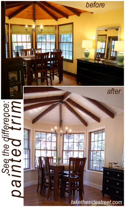 before and after dining room painted trim copy