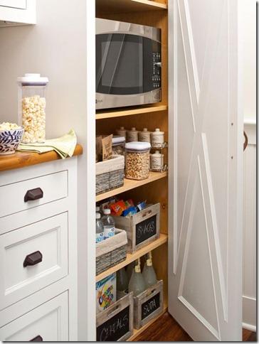 hidden microwave in pantry space