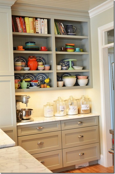 open shelving bright dishes
