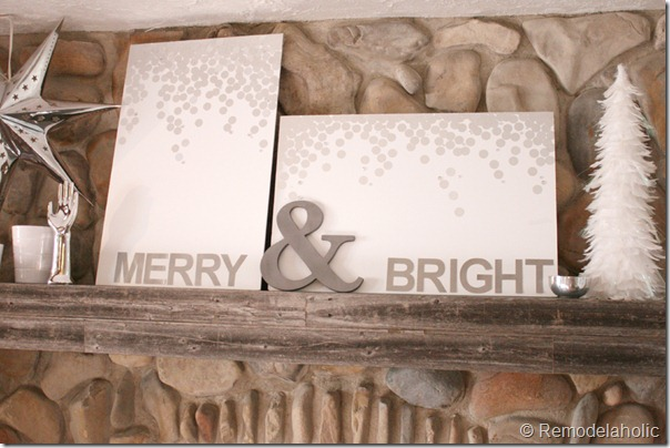 Christmas art canvas Merry and bright snow silver and white (28)