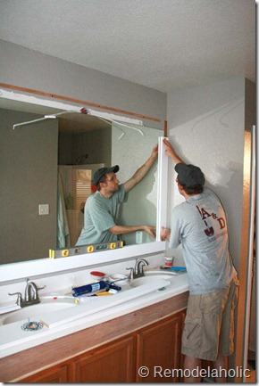 Framing a large bathroom mirror (16)