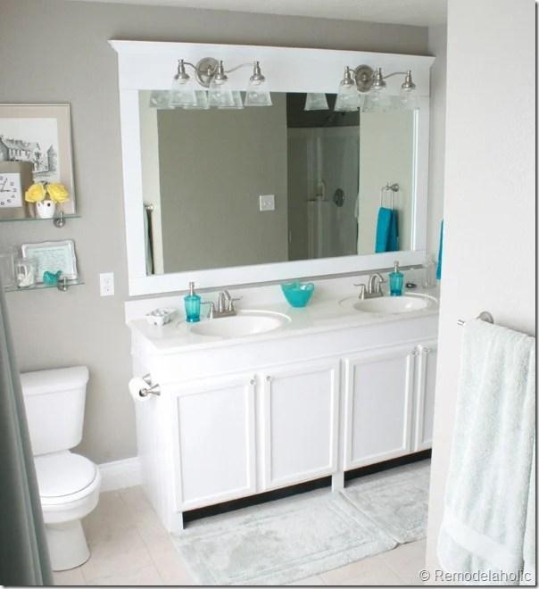 pretty framing a bathroom. Framing a large bathroom mirror  1 Remodelaholic A Large Bathroom Mirror