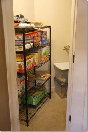 Simply Organized game shelf