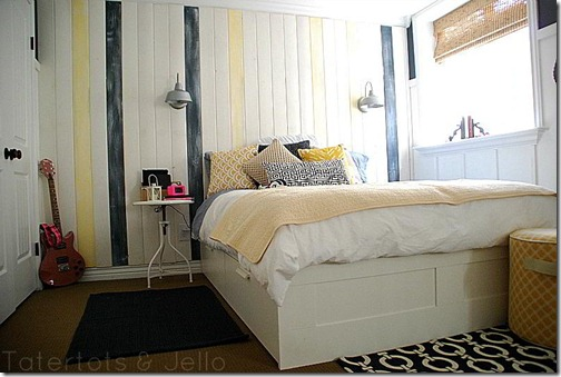 Tatertots & Jello basement bedroom after