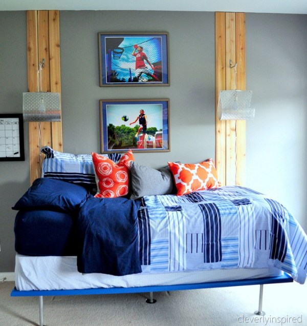 boys bed makeover orange and gray bedroom teens preteens, cleverly inspired @remodelaholic