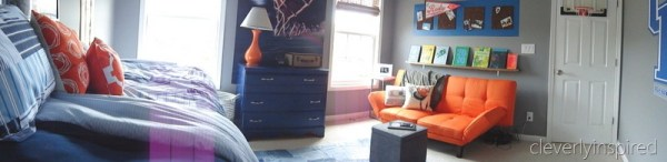gray and orange boys room colorful remodel cool orange couch, cleverly inspired @remodelaholic