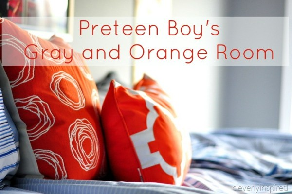 gray and orange boys room teen preteen, cleverly inspired @remodelaholic