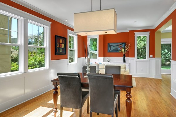 orange and white dining room, @ remodelaholic