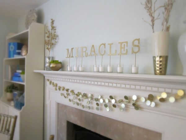Holiday mantel ideas, Hannukah coins gold gelt by Design Megillah