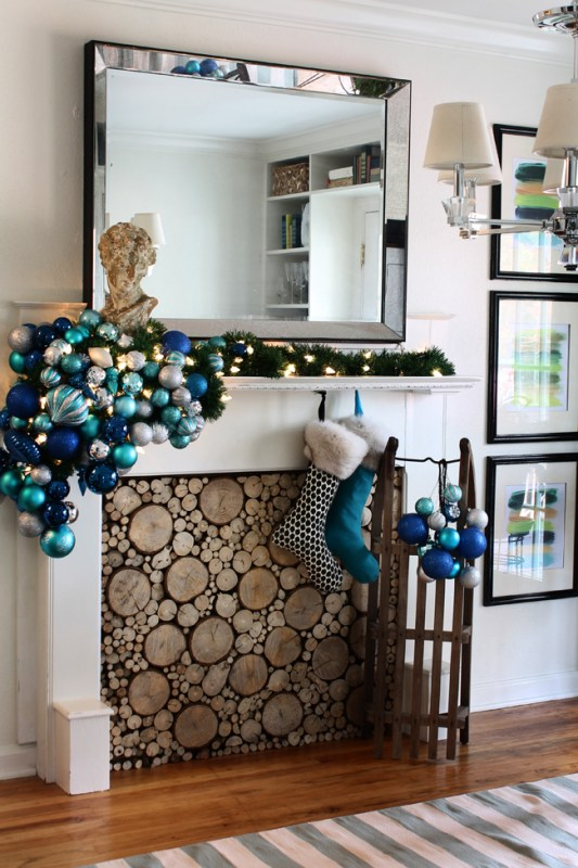 Holiday (or Christmas) mantel ideas, Blue by Hunted Interior