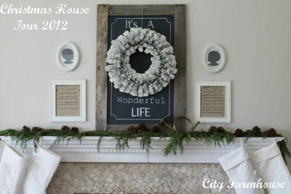 Holiday (or Christmas) mantel ideas, Chalkboard It's a Wonderful Life by City Farmhouse