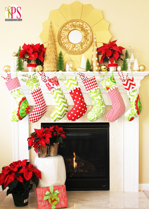 Holiday (or Christmas) mantel ideas, Red Gold and Lime by Positively Splendid