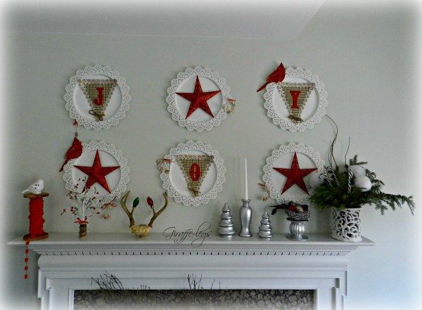 red and white mantel, holiday or Christmas Mantel by Giraffe Legs