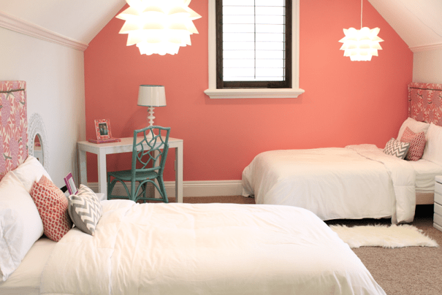 Danielle Oakey Interiors coral girls room
