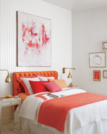 Martha Stewart coral accents in bedroom