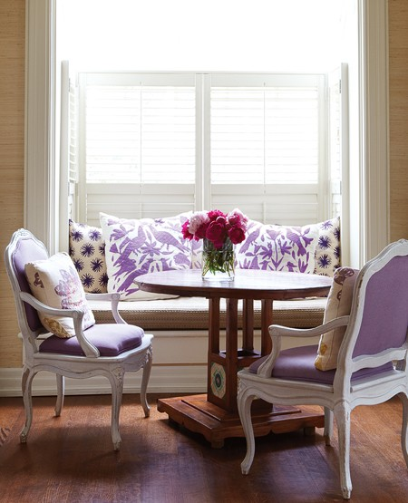 Canadian House & Home dining with purple upholstery