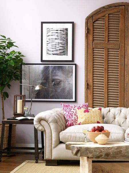 Canadian House & Home lavendar living room