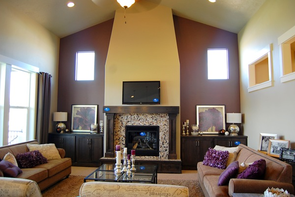 Hardrock Homes purple accent wall with fireplace
